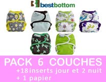 MAXI PACK 6 COUCHES LAVABLES TE2 pressions BEST BOTTOM