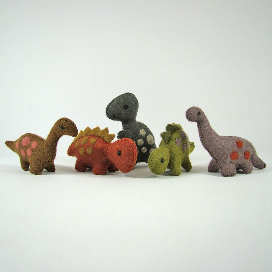 Monde des Dinosaures en laine feutrée - 5 petits dinosaures