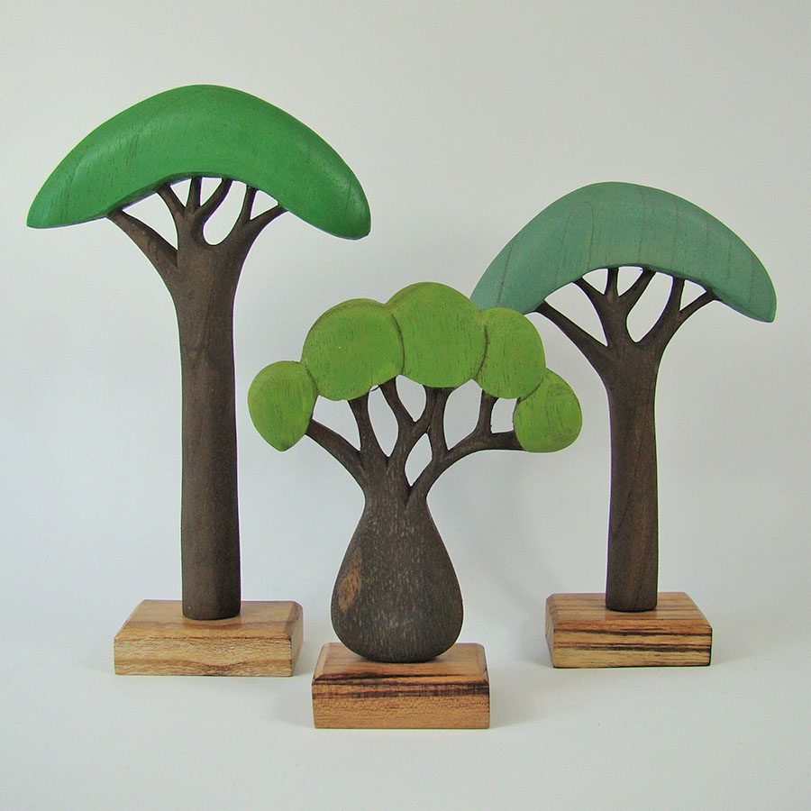 Arbres Africain en bois - set de 3