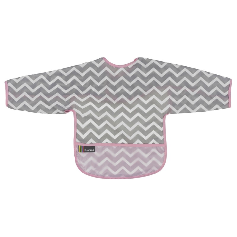 Bavoir Manches longues Kushies 12-24 mois Chevron Pink
