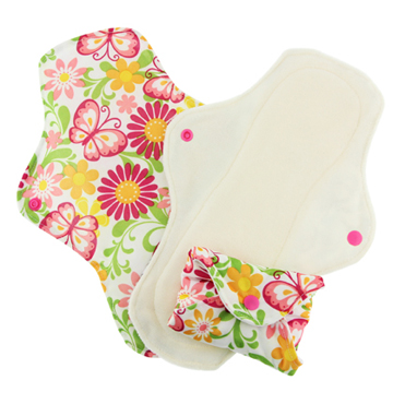 Lot de 3 Protections F�minines COTON BIO taille S prot�ge-slip PINK DAISY