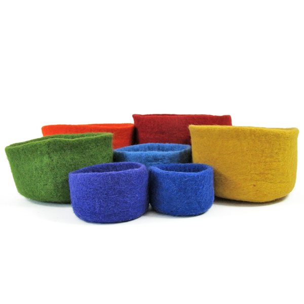Paniers en laine feutrée Rainbow - set de 7