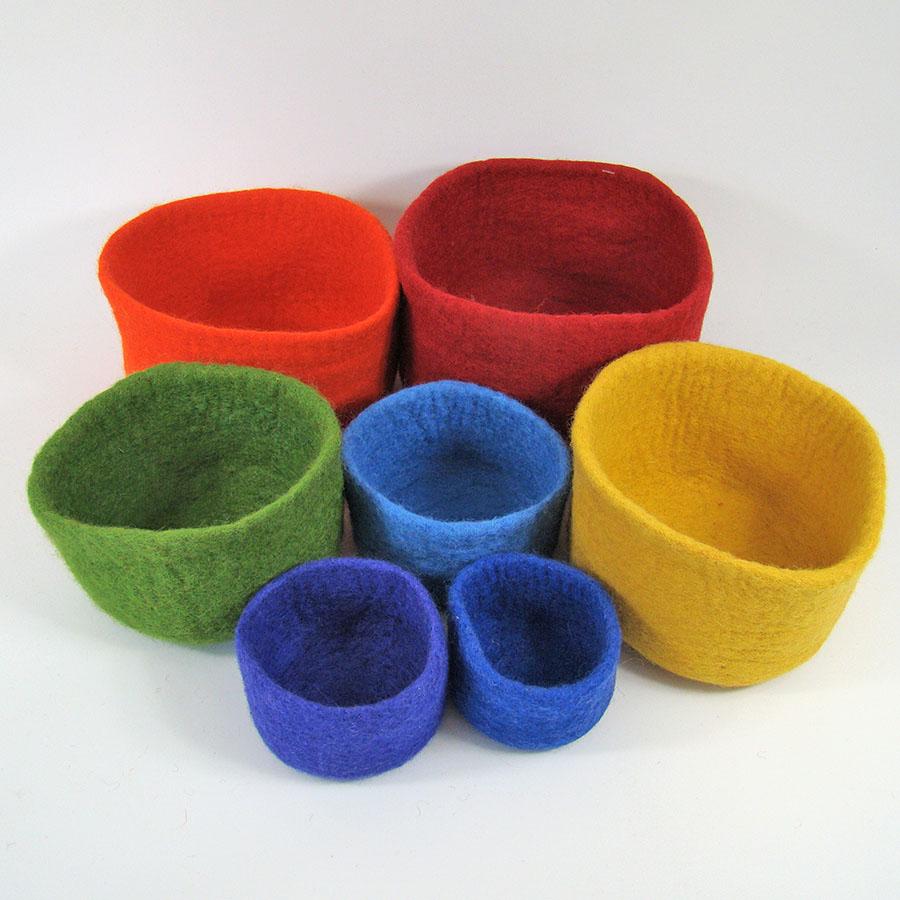 Bols en laine feutrée Rainbow - set de 7
