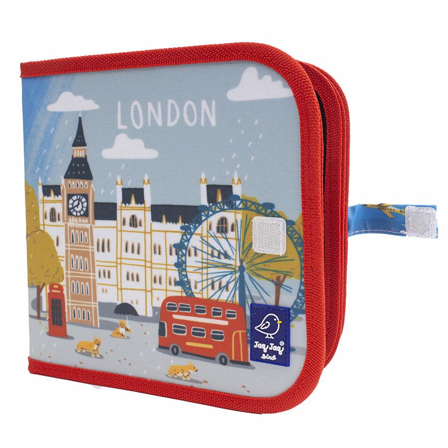 Cahier ardoise illustré CITY LONDON + 4 craies Zéro poussière