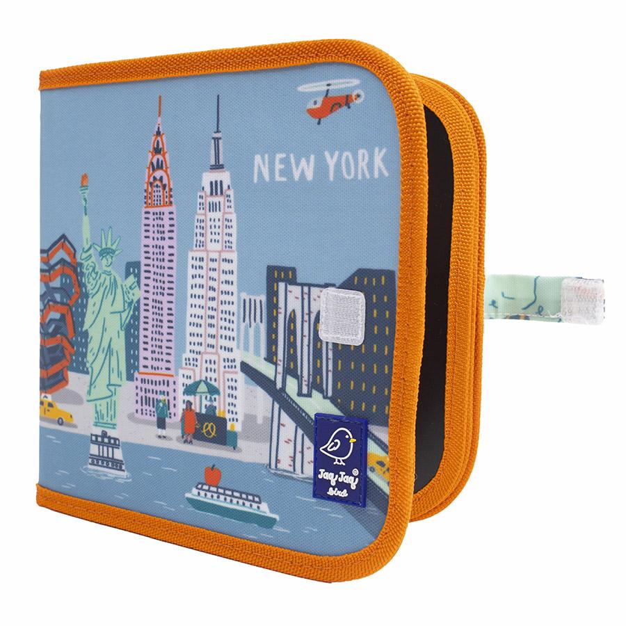 Cahier ardoise illustré CITY NEW YORK + 4 craies Zéro poussière