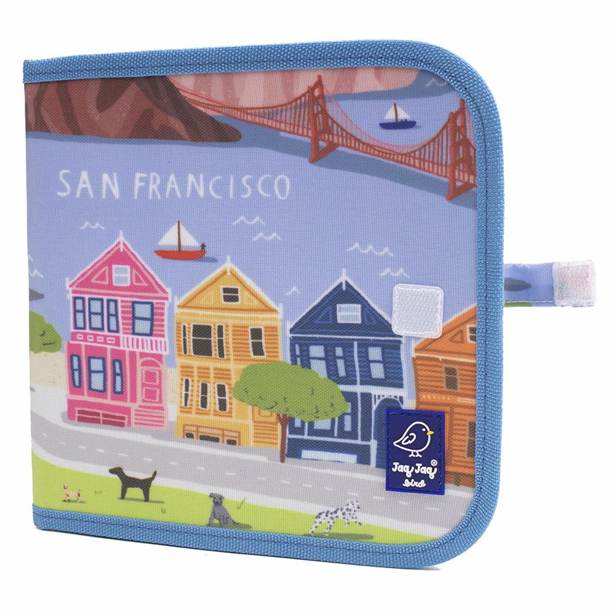 Cahier ardoise illustré CITY SAN FRANCISCO + 4 craies Zéro poussière