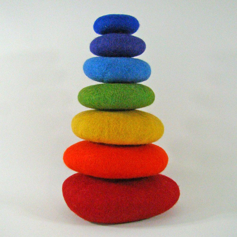 Galets en laine feutrée Rainbow - set de 7