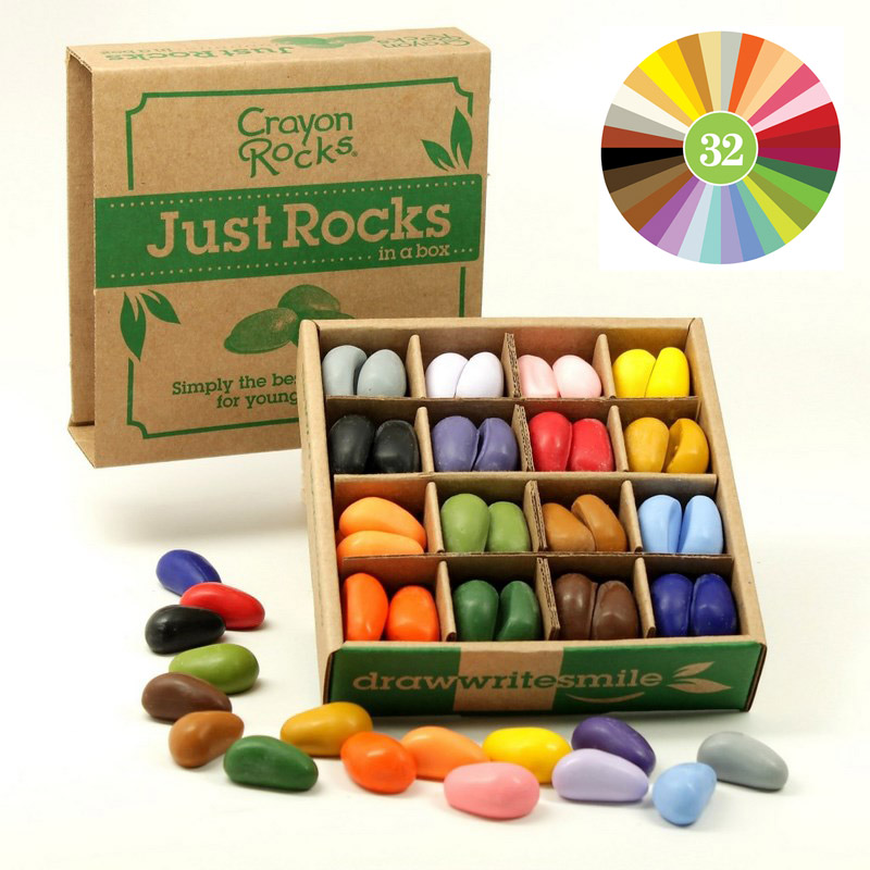 64 Cailloux Crayons 32 couleurs Bo�te JUST ROCKS Crayon Rocks