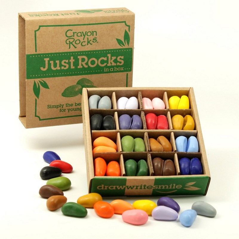 64 Cailloux Crayons 16 couleurs Bo�te JUST ROCKS Crayon Rocks