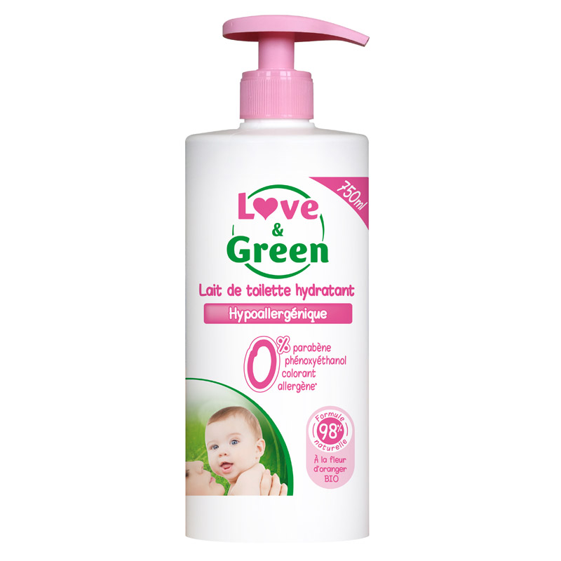 Lait de Toilette hypoallergénique 750ml Love & Green