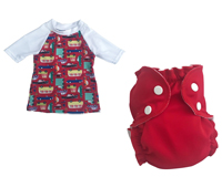 Ensemble bain tee-shirt + maillot couche I Car / Red Red Wine APPLECHEEKS
