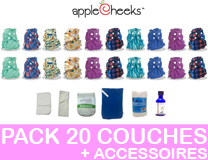 PACK COMPLET 20 Couches Lavables APPLECHEEKS