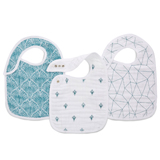Lot de 3 bavoirs mousseline PAISLEY -TEAL