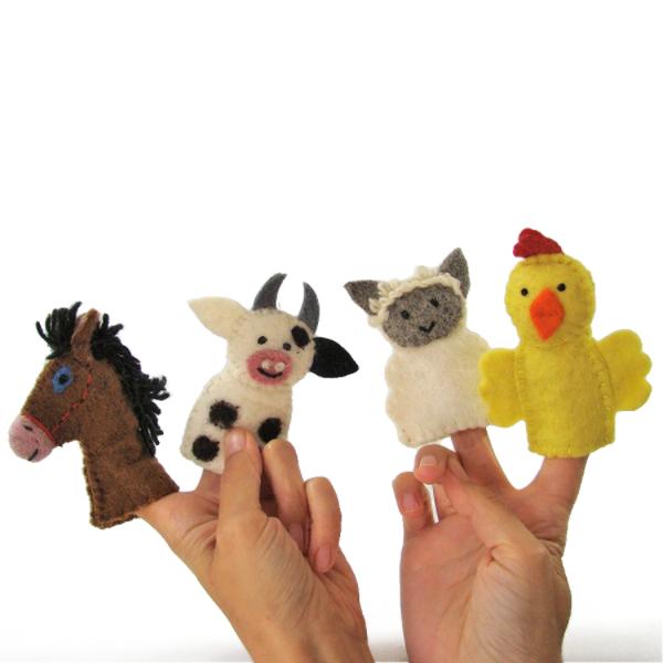 Marionnettes à doigts en laine feutrée - Ferme