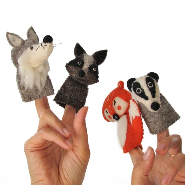 Marionnettes à doigts en laine feutrée - Forêt