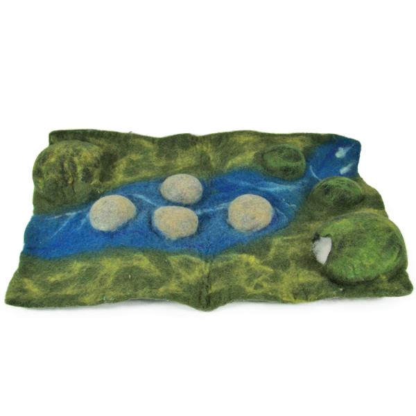 Monde des Dinosaures en laine feutrée - Tapis paysage
