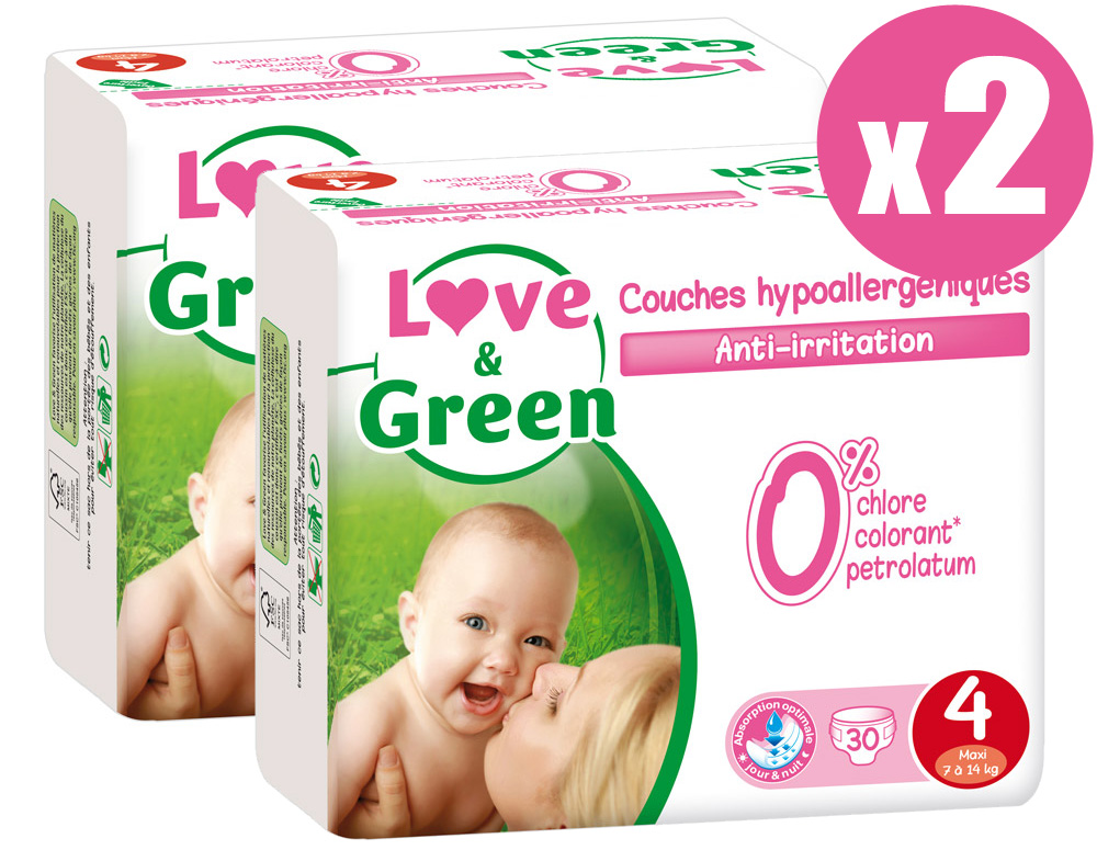 Pack x2 Couches jetables écologiques Love & Green Taille 4 MAXI 7-14kg