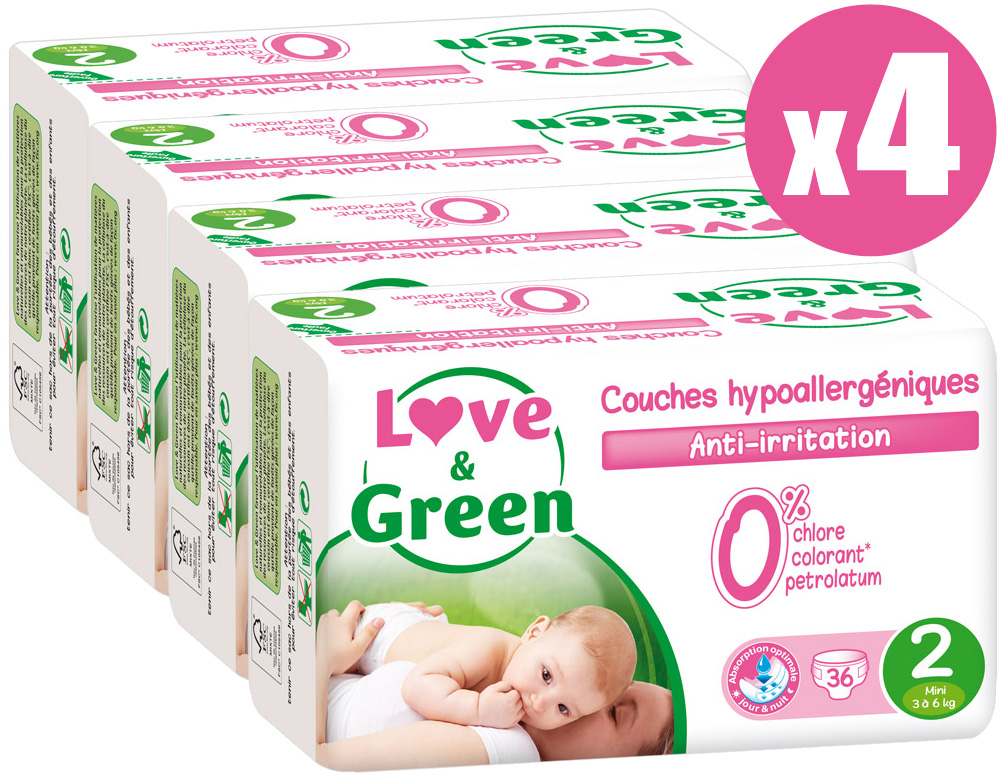Pack x4 couches jetables écologiques Love & Green Taille 2 MINI 3-6kg