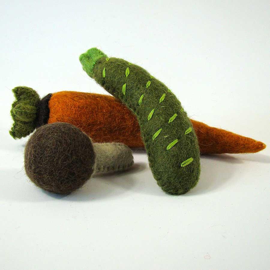 Légumes en laine feutrée - Carotte, Courgette, Champignon