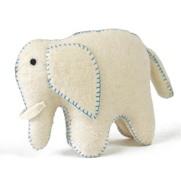 Éléphant blanc et bleu en laine feutrée