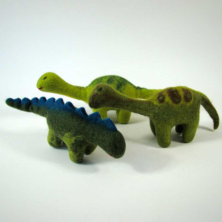 Monde des Dinosaures en laine feutrée - 3 dinosaures moyens