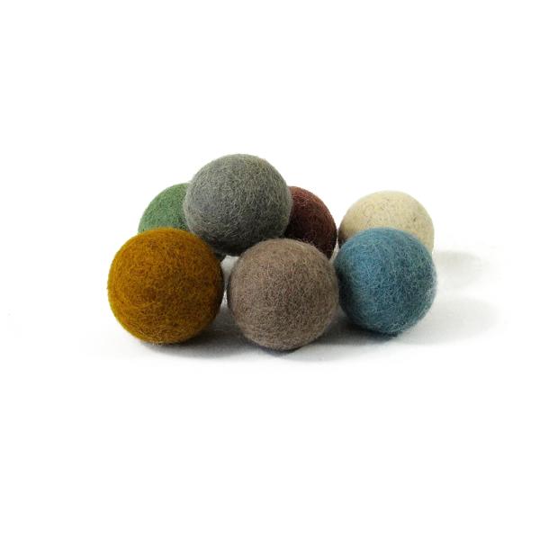 Balles 3,5 cm en laine feutrée Earth - set de 7