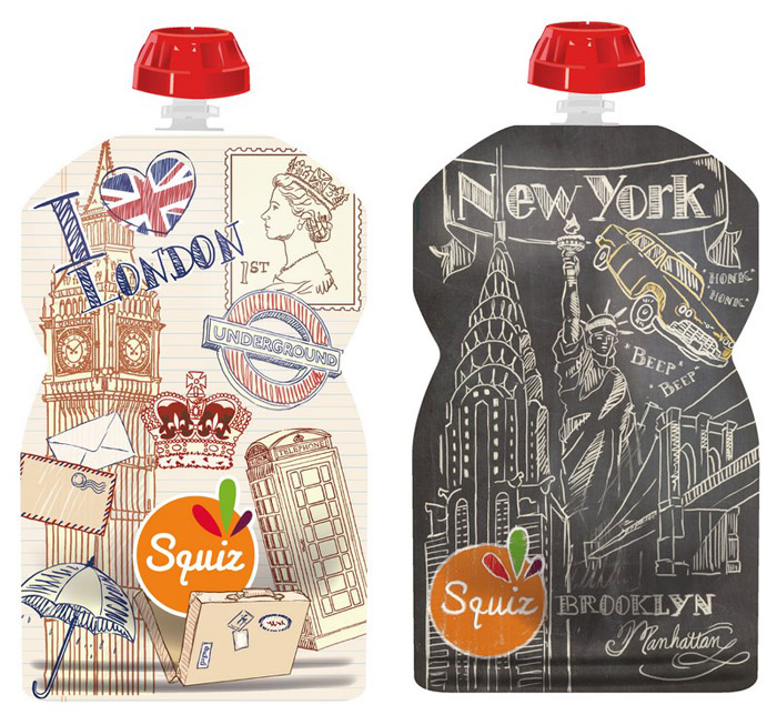 Lot de 2 Gourdes souples Londres/New York