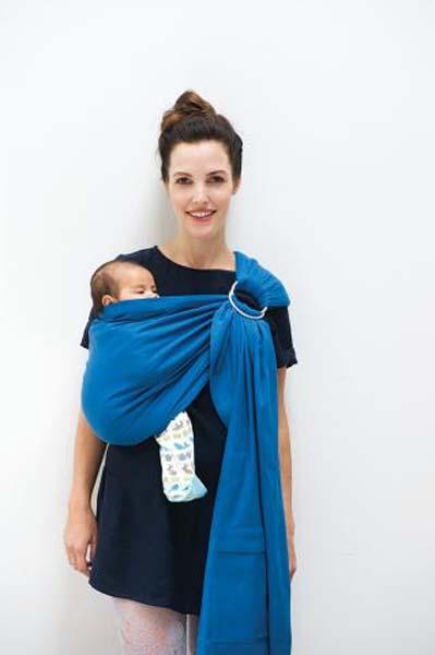 BB-Sling WATERFALL BLUE Echarpe en coton Bio BABYLONIA - Maman Natur ... 647ffe1783e