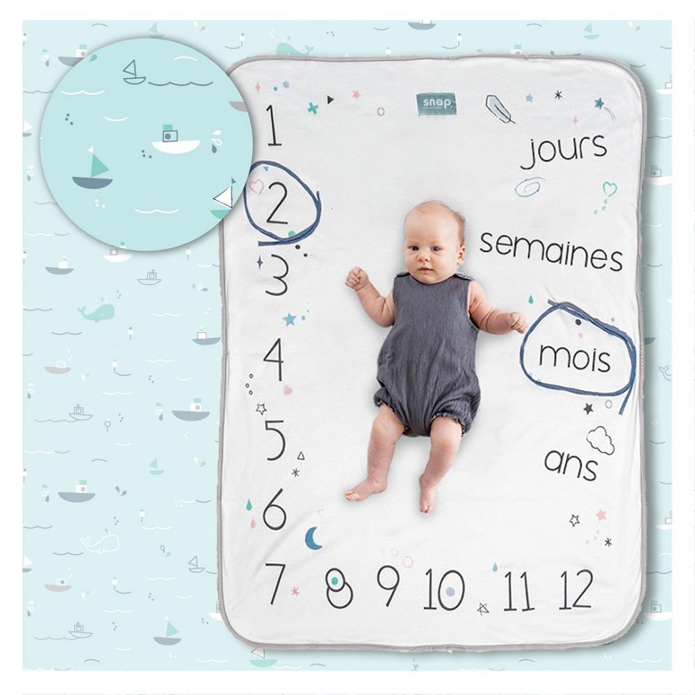 Couverture étape bébé 100% coton Aqua marine