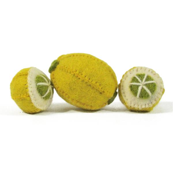 Fruits en laine feutrée - 3 citrons
