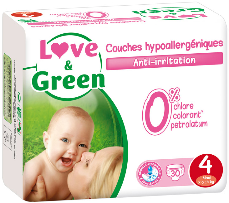 Couches jetables écologiques Love & Green Taille 4 MAXI 7-14kg