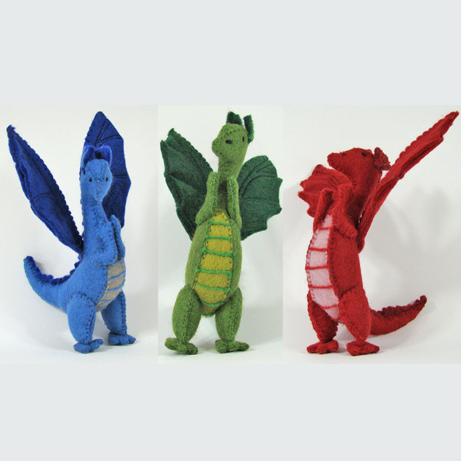 Grands Dragons en laine feutrée - set de 3