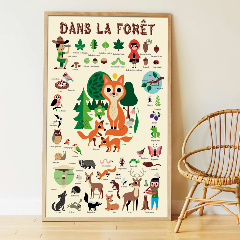 Poster géant 60 stickers Forêt