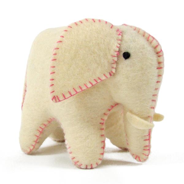 Éléphant blanc et rose en laine feutrée