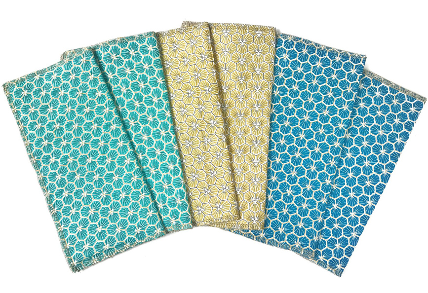 Lot de 6 essuies tout lavables HEXAGONE Bleu MELO'COTON