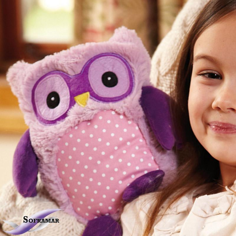 Bouillotte Peluche Naturelle Hibou Violet HOOTY