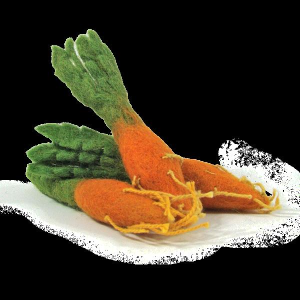 Mini légumes en laine feutrée - 3 carottes