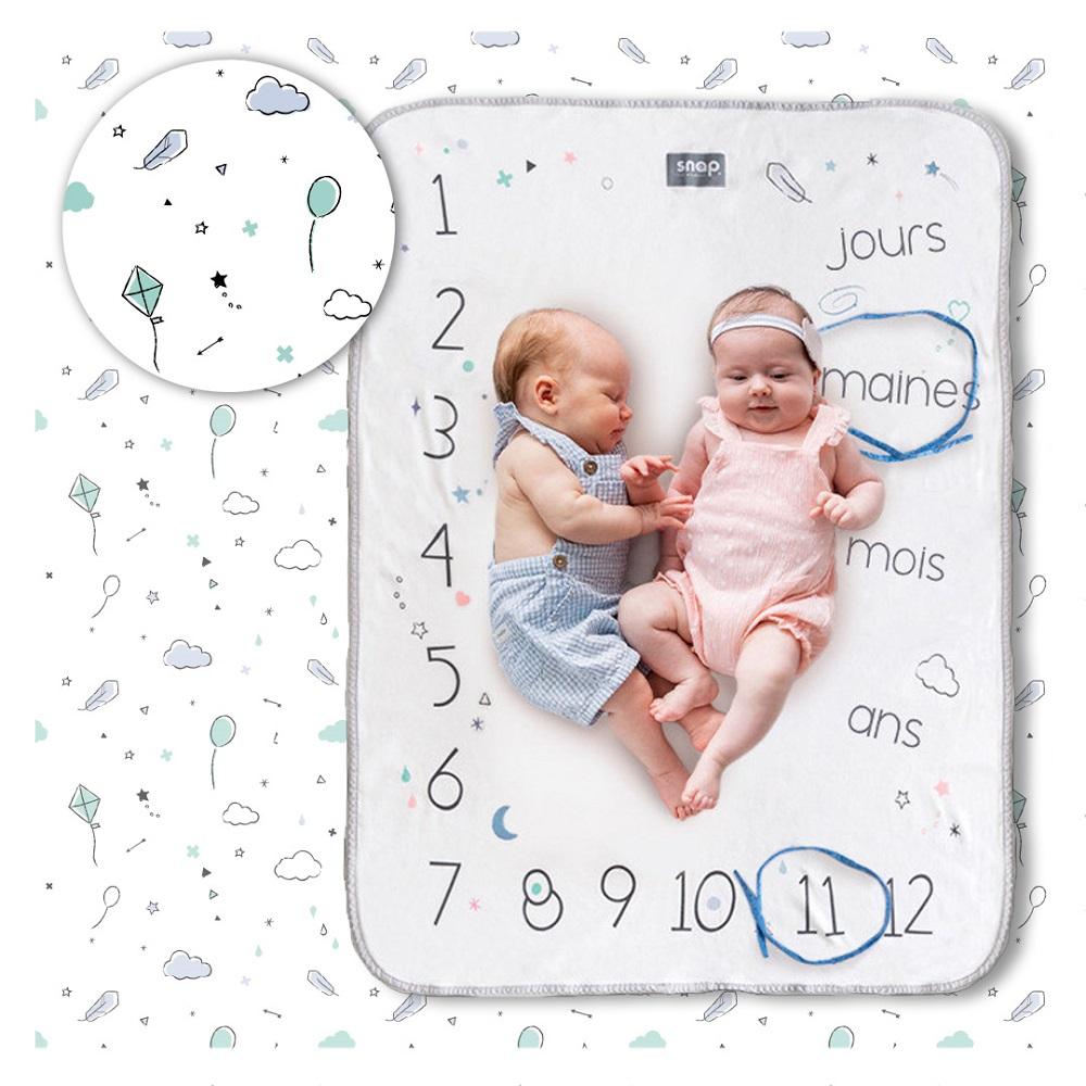 Couverture étape bébé 100% coton Minty white