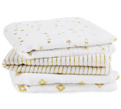 Lot de 3 petits Langes en mousseline de coton METALLIC GOLD aden + anais