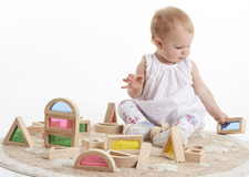 Set de 24 blocs en bois Rainbow