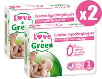 Pack x2 Couches jetables écologiques Love & Green Taille 1 NAISSANCE 2-5kg