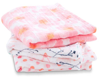 Lot de 3 petits Langes en mousseline de coton PETAL BLOOM