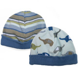 Lot de 2 bonnets HUGGALUGS Elephant/Stripe 0-6 mois