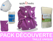 PACK DECOUVERTE couches lavables taille unique APPLECHEEKS