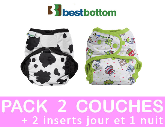 PACK DECOUVERTE couches lavables taille unique BEST BOTTOM