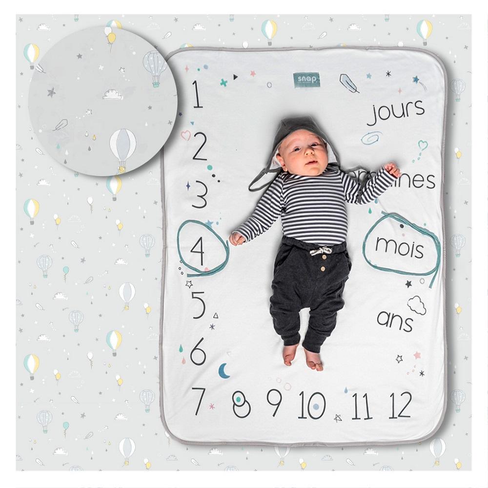 Couverture étape bébé 100% coton Pastel grey