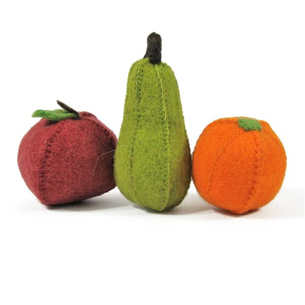 Fruits en laine feutrée - Pomme, poire, orange