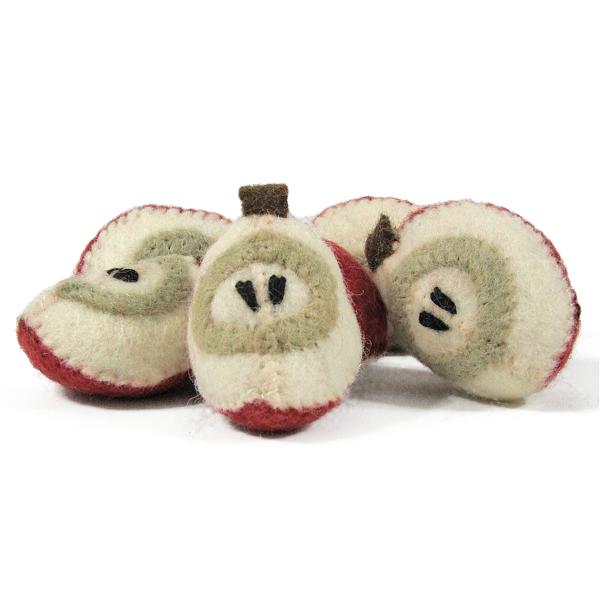 Fruit en laine feutrée - 6 quartiers de pomme