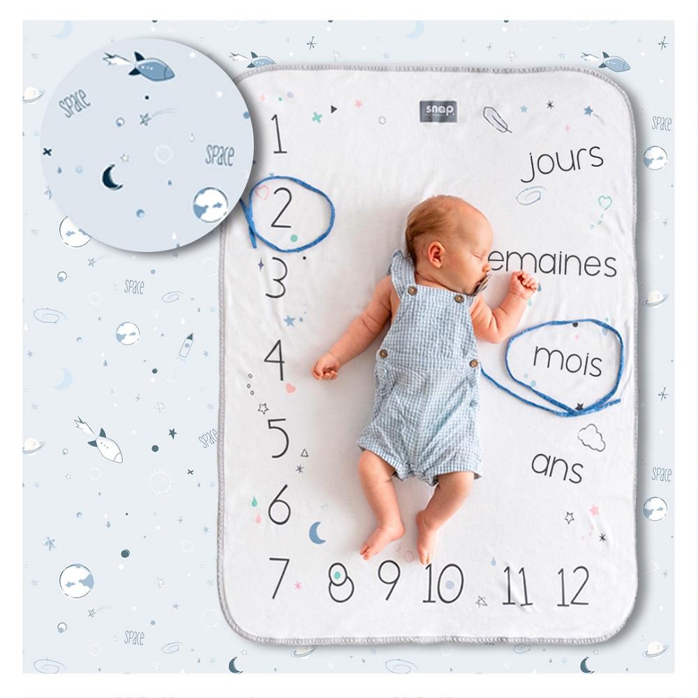 Couverture étape bébé 100% coton Powder blue