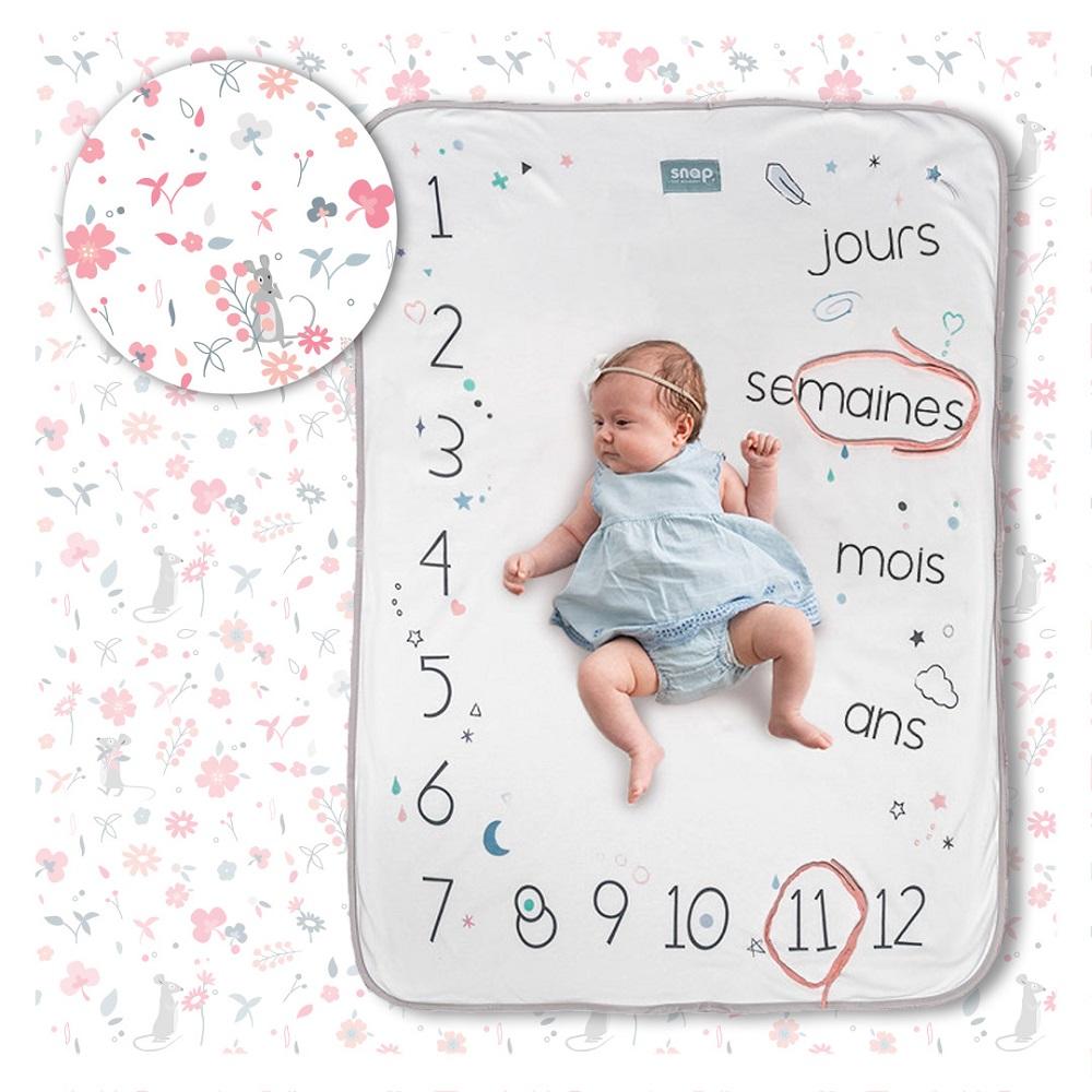 Couverture étape bébé 100% coton Rosy white